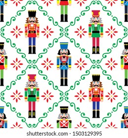 Christmas nutcrackers vector seamless pattern - Xmas soldier figurine repetitive ornament, textile design.  Nutcracker ornament, festive repetitive wallpaper on white background, holidays decotion