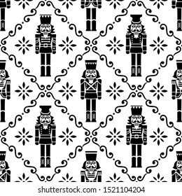 Christmas nutcrackers vector seamless pattern - Xmas soldier figurine repetitive black and white ornament, textile design. Nutcracker soldier monochrome ornament, festive repetitive wallpaper, holiday