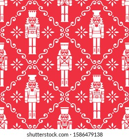 Christmas nutcrackers vector seamless pattern - Xmas soldier figurine repetitive white ornament on red, textile design. Nutcracker soldier ornament, festive repetitive wallpaper, holidays Xmas
