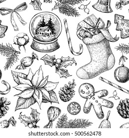 Christmas object seamless pattern. Hand drawn vector background. Xmas plants and symbols. Holiday Holly, mistletoe, sock, stocking, poinsettia, gift, ginger man cookie, snow globe, candy, fir tree