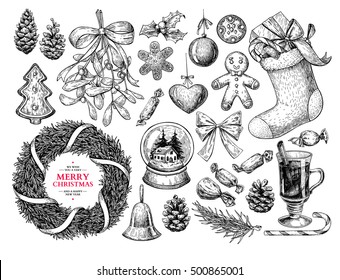 Christmas object set. Hand drawn vector illustration. Xmas collection. Holiday engraved holly, mistletoe, wreath, sock, stocking, gift, fir tree, pine cone, gingerbread man cookie, bell, bow,