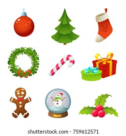 Christmas objects collection isolated on white. Cartoon Christmas icons set