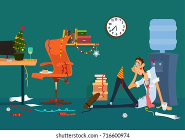 Christmas office after party.  Vector cartoon illustration