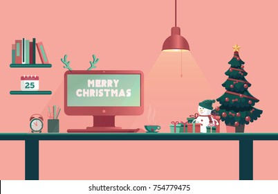Christmas office desk. New Year workplace interior. Gift box, Christmas tree, snowman and greetings letters on monitor. vector, illustration.