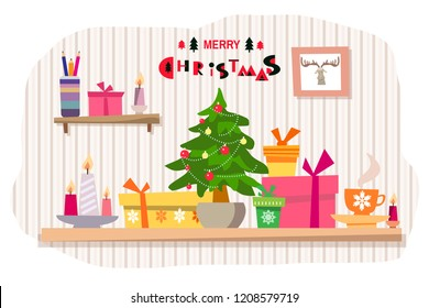 Christmas office workplace in flat cartoon style.  Table with computer, candle, gift boxes, christmas tree,  garland, cup.  Vector illustration.