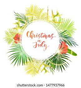 Christmas on the summer beach design with green palm leaves and tropical hibiscus flowers, vector illustration.