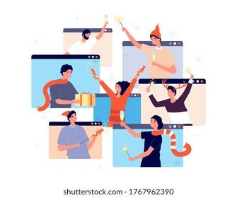 Fiesta en línea de Navidad. Gente celebrando el año nuevo, amigos felices en video chat. Hombre mujer con confeti de champán regalo ilustración vectorial