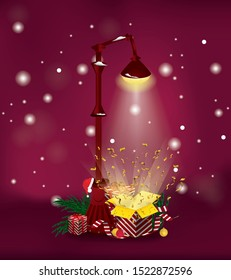 Christmas open gift box under street lamp. New Year presents and fir branches on dark red background. Vector art illustration