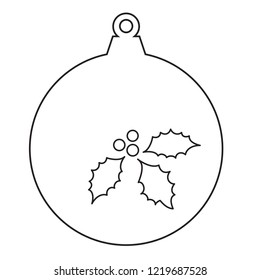 Christmas Ornament Ball with Holly Decoration