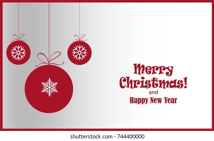 christmas ornament balls with snowflakes hanging red text Merry Christmas isolated background with red frame