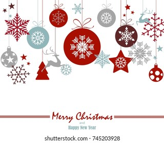christmas ornament balls with snowflakes hanging, red text Merry Christmas and happy new year isolated background with red frame
