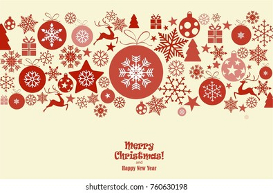 christmas ornament balls with snowflakes hanging, red text Merry Christmas and happy new year isolated background