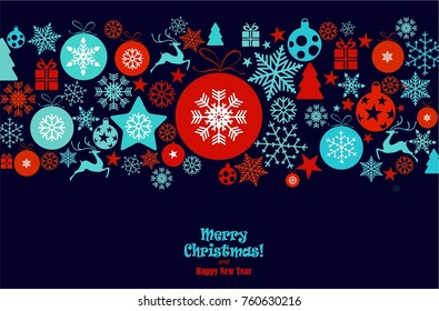 Christmas ornament balls with snowflakes hanging, red text Merry Christmas and happy new year isolated on dark blue background