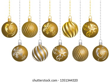 christmas ornament with different patterns gold