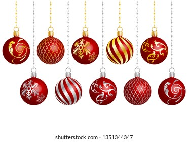 christmas ornament with different patterns red