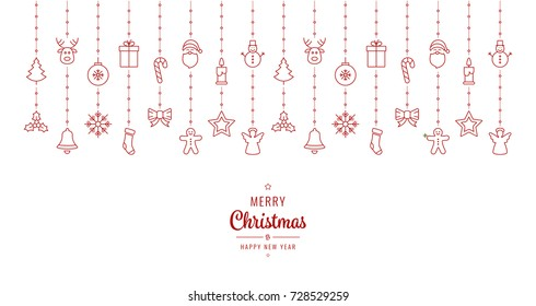 christmas ornament elements hanging red white background