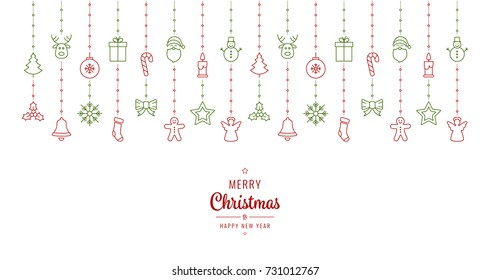 christmas ornament elements hanging red green white background