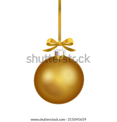 Christmas ornament with gold ribbon. Vector Illustration.