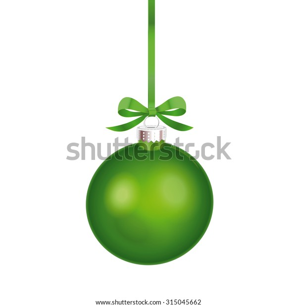 Christmas ornament with green ribbon. Vector Illustration.
