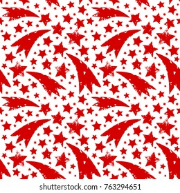 Christmas ornament with grungy xmas red stars and comets isolated on white background. Seamless vector pattern.