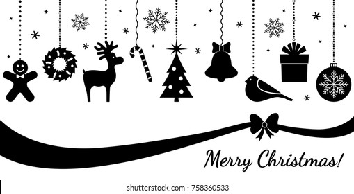 Christmas ornament hanging. greeting new year postcard isolated. flat vector illustration