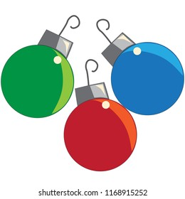 Christmas ornament red blue green three vector