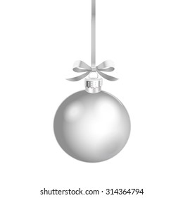 Christmas ornament with silver ribbon. Vector Illustration.