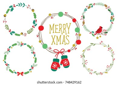 Christmas ornament wreath frame vector illustration set with red berries, green leaves, red robin bird, pine cone and cute Christmas ornaments.