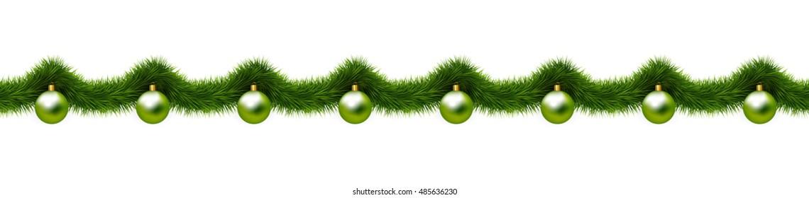 Christmas ornaments, Christmas balls and christmas tree branches. Seamless vector border.