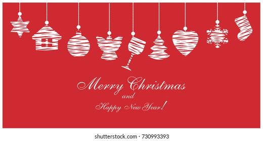 Christmas ornaments. Christmas card. Vector illustration.