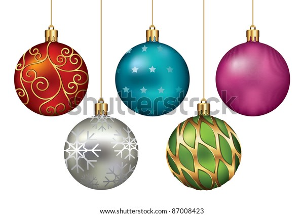 Christmas ornaments hanging on gold thread. Vector Illustration