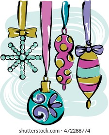 Christmas ornaments hanging from ribbon.