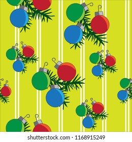 Christmas ornaments holiday red green blue yellow pink seamless pattern with stripes