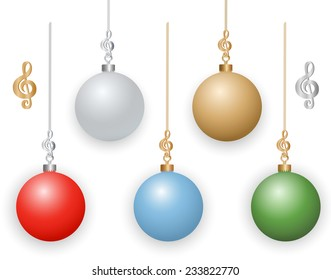 Christmas Ornaments with Musical Treble Clef Hooks.