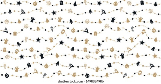 Christmas ornaments on gold rope line seamless pattern white isolated background