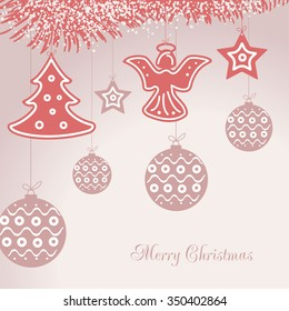 Pastel Christmas Ornaments.Christmas Ornaments On Pastel Background Stock Vector