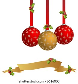 Christmas ornaments on white background. Illustration (Vector)