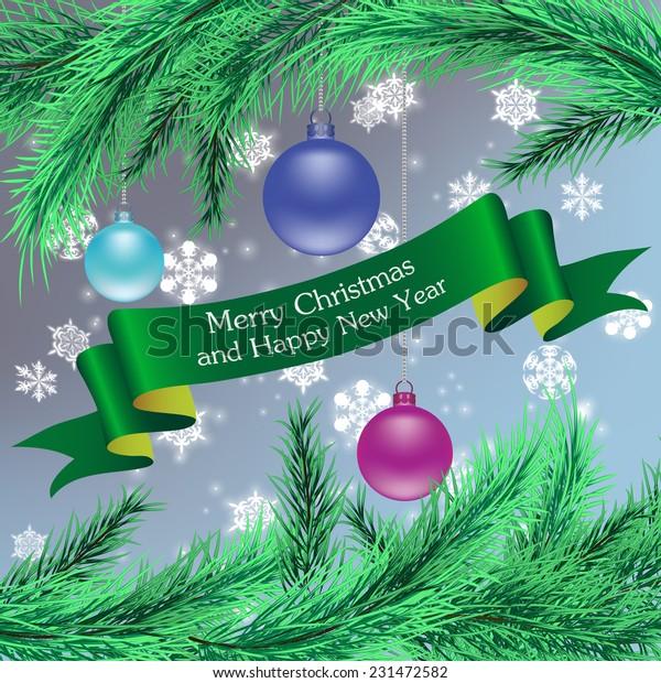 Christmas Ornaments Ribbon Fir Tree Branches Stock Vector Royalty