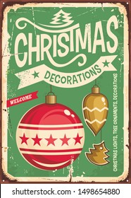 Christmas ornaments sale vintage tin sign. Hanging Christmas baubles on retro green background. Festive decorations for holiday event. Vector illustration.