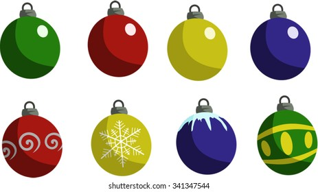 Christmas ornaments, various colors and designs