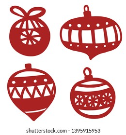 Christmas ornate balls. Paper cutting template.