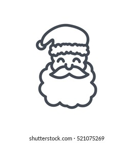 Christmas Outlined Line Icon Vector Santa