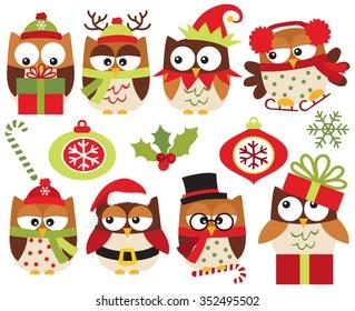 christmas owls brown - Owl Christmas