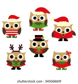 Christmas owls vector.
