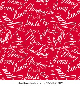 Christmas package design, seamless vector pattern with handwritten text