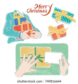 Christmas, packaging gift steps,Hand-painted illustrations