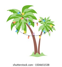 Christmas palm tree decorated with luminous garlands. Template of double tropical palm with fluffy and dense crown for new year holidays. Isolated vector illustration in flat style.