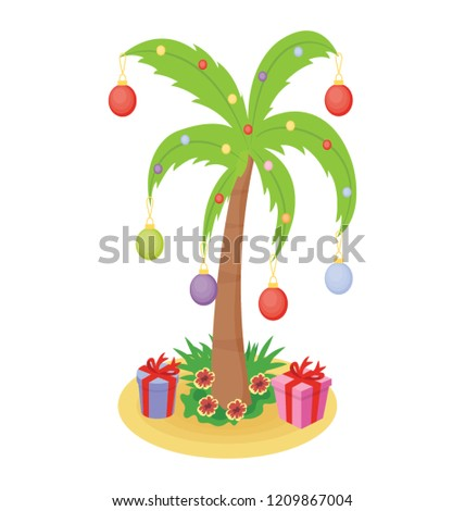 Christmas Palm Tree Icon With Gifts
