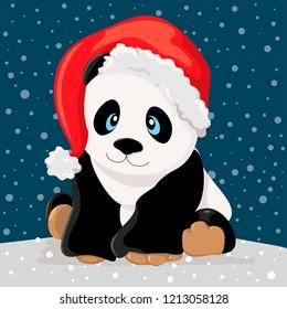Christmas panda bear. Vector illustration