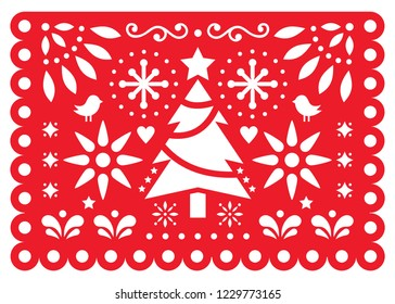 Christmas Papel Picado vector design, Mexican Xmas paper decorations, red and white 5x7 greeting card pattern.